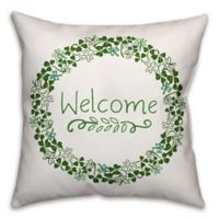 """""""Welcome"""" Clover Wreath Square Throw Pillow in Green"""