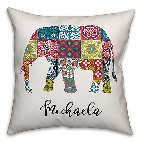 Elephant Throw Pillow Bed Bath And Beyond : Elephant Tile Square Throw Pillow in Blue - Bed Bath & Beyond