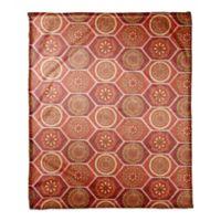 Boho Tile Throw Blanket in Orange