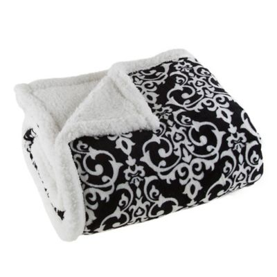 sherpa fleece throw blanket in blackwhite