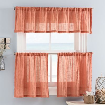 Weston Mini 36 Inch Window Curtain Tiers In Coral