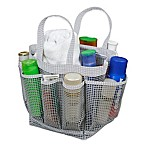 Mesh Shower Tote in Grey/White Dot