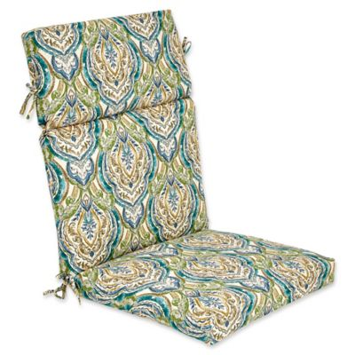 outdoor high back cushion in avaco blue
