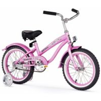 "Firmstrong Girl's Bella 16"" Single Speed Bicycle w/Training Wheels in Pink"