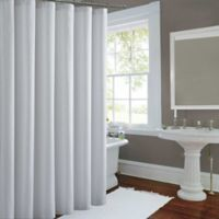 Metallic Luster Shower Curtain In White