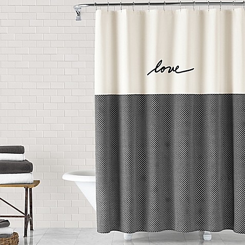 bathroom shower curtains.  ED Ellen DeGeneres Love Shower Curtain Collection Bed Bath Beyond