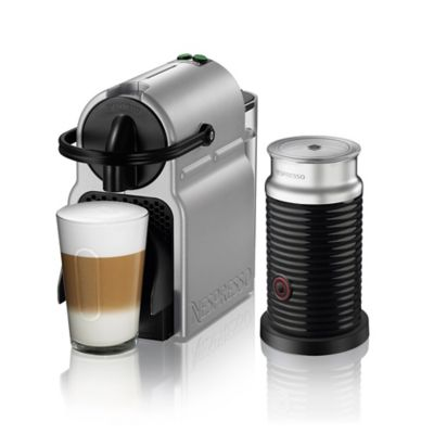 nespresso by delonghi inissia espresso machine and aeroccino milk frother bundle in silver