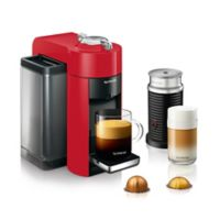 Nespresso® by DeLonghi Evoluo Coffee/Espresso Machine Bundle with Aeroccino Frother in Red
