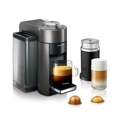 nespresso by delonghi evoluo machine bundle with aeroccino frother in graphite - Delonghi Espresso Machine