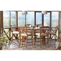 Trisha Yearwood Home Outdoor 8-Piece Dining Set in Brown with 9-Foot Umbrella