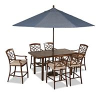 Trisha Yearwood Home Outdoor 8-Piece Dining Set in Brown with 11-Foot Umbrella