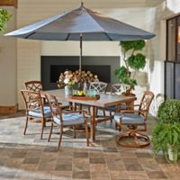 Trisha Yearwood Home Outdoor 8-Piece Dining Set in Demo Denim with 9-Foot Umbrella