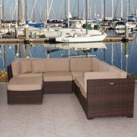 Atlantic Bellagio 6-Piece Patio Sectional Set in Brown/Beige