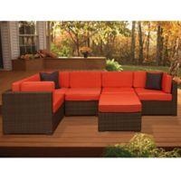 Atlantic Bellagio 6-Piece Patio Sectional Set in Brown/Orange