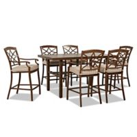 Trisha Yearwood Home Collection 7-Piece Outdoor High Dining Set in Espadrille Brown