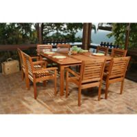 Amazonia Milano 9-Piece Square Eucalyptus Wood Outdoor Patio Dining Set
