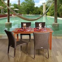 Amazonia Brugge 5-Piece Eucalyptus Wood and Wicker Outdoor Patio Dining Set