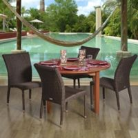 Amazonia Lorraine 5-Piece Eucalyptus Wood and Wicker Outdoor Patio Dining Set