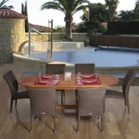 Amazonia Lemans 7-Piece Eucalyptus Wood and Wicker Extendable Outdoor Patio Dining Set