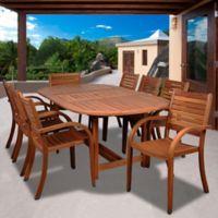 Amazonia Arizona 9-Piece Extendable Wood Oval Patio Dining Set