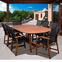 Amazonia Bahamas 9-Piece Extendable Oval Eucalyptus Outdoor Patio Dining Set in Black