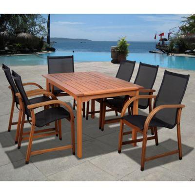 Amazonia Bahamas 7 Piece Rectangular Eucalyptus Outdoor Patio Dining Set In  Brown/Black