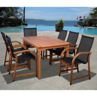 Amazonia Bahamas 7-Piece Rectangular Eucalyptus Outdoor Patio Dining Set in Brown/Black