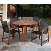 Amazonia Bahamas 5-Piece Round Eucalyptus Outdoor Patio Dining Set with Black Sling Chairs