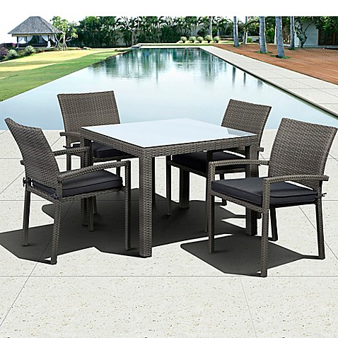 Atlantic Liberty 5 Piece Outdoor Square Dining Set In Grey Bed Bath Beyond