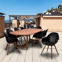 Amazonia Charlotte 9-Piece Extendable Oval Dining Set in Black/Natural
