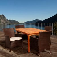 Amazonia Myron 5-Piece Eucalyptus Wood and Wicker Outdoor Patio Dining Set