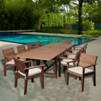 Amazonia Gerald 11-Piece Extendable Rectangular Outdoor Patio Dining Set in Brown
