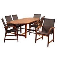 Amazonia Bahamas 7-Piece Extendable Oval Eucalyptus Outdoor Patio Dining Set in Brown