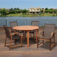Amazonia Bahamas 5-Piece Round Eucalyptus Outdoor Patio Dining Set with Brown Sling Chairs