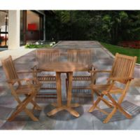 Amazonia Kansas 5-Piece Round Teak Wood Outdoor Patio Dining Set