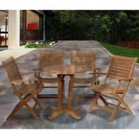 Amazonia Aruba 5-Piece Round Teak Wood Outdoor Patio Dining Set