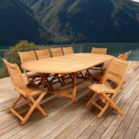 Amazonia Savona 11-Piece Double-Extendable Outdoor Dining Set