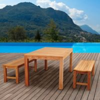 Amazonia Rinjani 3-Piece Rectangular Dining Set in Brown