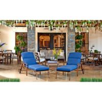 Trisha Yearwood Home Collection Outdoor End Table and 2 Chase Lounge Chairs Set in Denim Demo