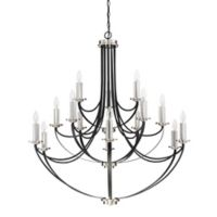 Quoizel Alana 15-Light 2-Tier Chandelier in Black