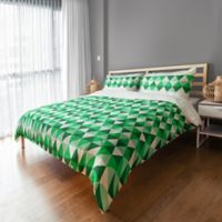 Geo Prep Collection Preppy Triangle Full/Queen Duvet Cover in Green