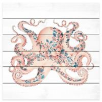 Marmont Hill 24-Inch x 24-Inch Floral Octopus Pinewood Wall Art