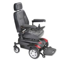 Drive Medical Titan Front-Wheel Power Wheelchair with 16-Inch x 16-Inch Captain's Seat in Red