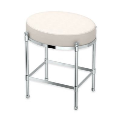 Oval Vanity Stool With White Seat Cushion In Chrome