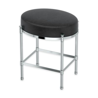 Oval Vanity Stool With Black Seat Cushion In Chrome