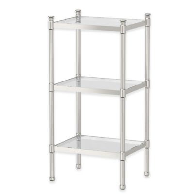 Gatco Taboret 3 Tier Gl And Metal Shelving Unit In Satin Nickel