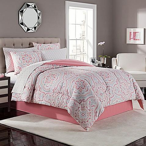 Juniper Comforter Set in Coral/Grey - Bed Bath & Beyond
