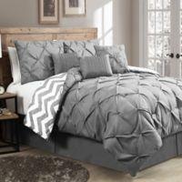 Avondale Manor Ella 7-Piece King Pinch Pleat Comforter Set in Grey
