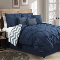 Avondale Manor Ella 7-Piece King Pinch Pleat Comforter Set in Navy