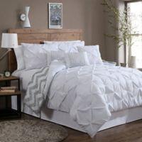 Avondale Manor Ella 7-Piece Queen Pinch Pleat Comforter Set in White